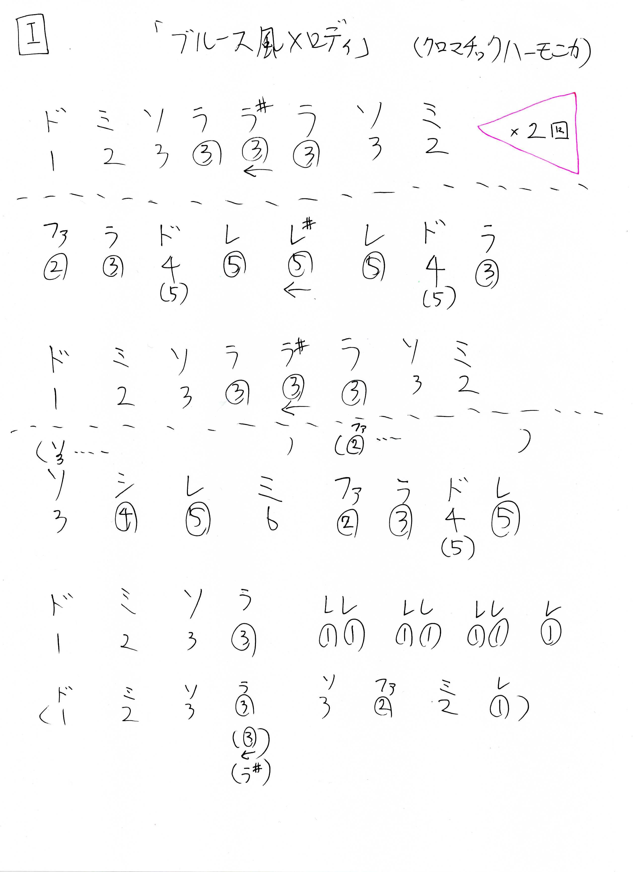 ハーモニカでブルース風なメロディ 2パターン ☆超手書きドレミ楽譜☆(クロマチックハーモニカ&10穴・ブルースハープ)