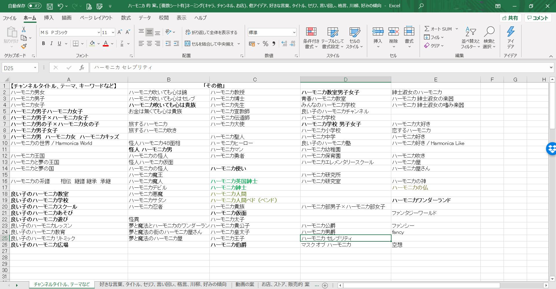 """""""ハーモニカ紳士""""という名前が決まるまで""""エクセル(Excel)""""に ひたすら案をメモし続けた記録"""