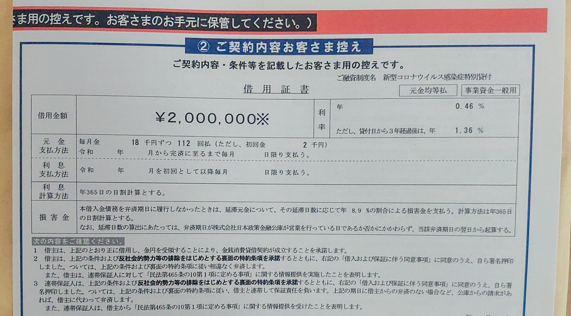 200万円の融資を受ける事が出来たのであった(新型コロナウイルス感染症特別貸付 日本政策金融公庫)